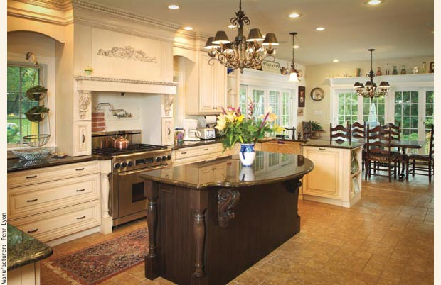 Elegant A Beautiful And Spacious Modular Home Kitchen With Maple Cabinetry.