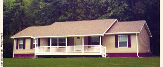 Conventional straight modular home ranch with front porch.