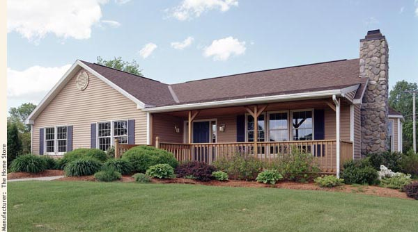 The Home Store's Sugarloaf 5 T-ranch modular model home with a front porch.
