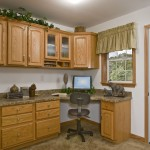 Modular Home Office with Built-In Desk and Oak Cabinets