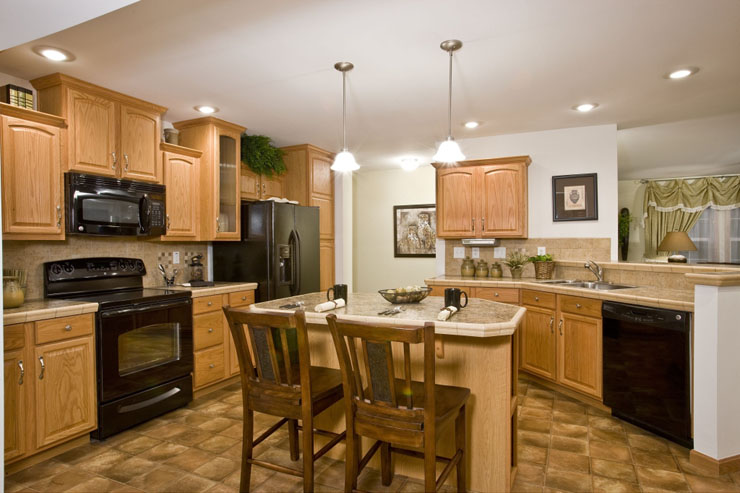 Modular Home Kitchen With Island And Breakfast Bar