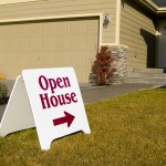 An open house sign to modular home sales models
