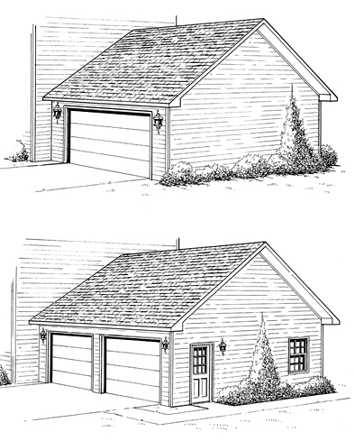 Construction drawings showing two garage options, one with a single overhead door and no side window or door and the other with double overhead doors and a side window and door