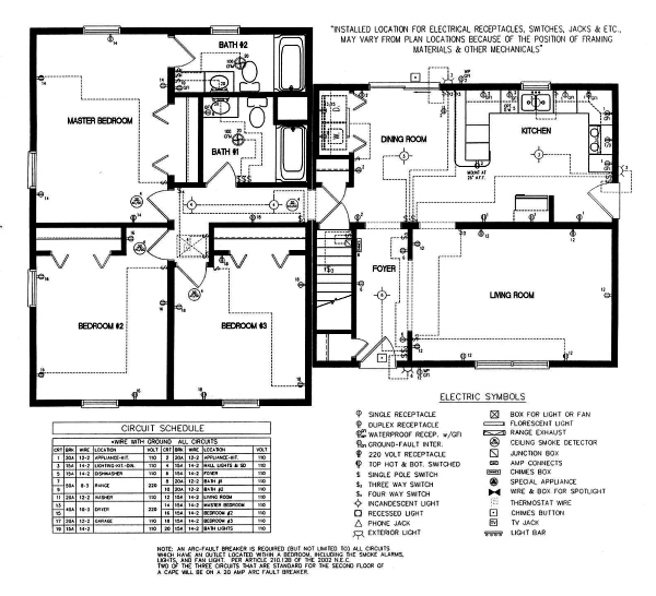 closely check the modular home plumbing and electrical plans, wiring diagram