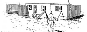 A modular home contractor looking at a recently set home