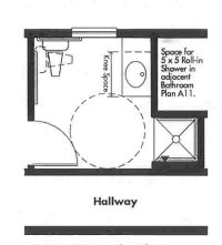 Universal Design bathroom plan with 3x3 Transfer Shower - Opt 3