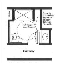 Universal Design bathroom plan with 3x5 roll-in shower - Opt 3