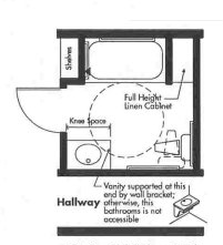 Universal Design bathroom plan with 3x5 whirlpool tub - Opt 2