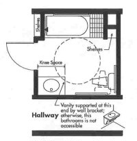 Universal Design bathroom plan with tub and transfer seat - Opt 2