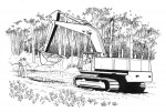 An excavator digging a test hole on a potential building lot