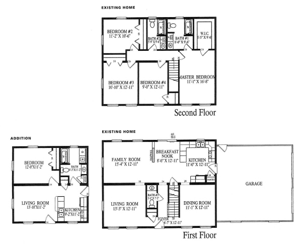 A floor plan of an existing two-story with an attached modular in-law addition