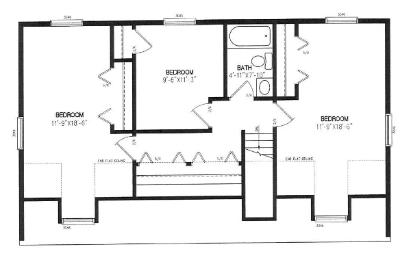 A modular manufacturer drawing of a proposed layout of the unfinished second floor of a cape cod