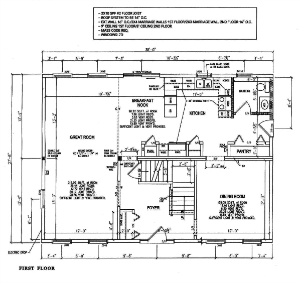 A modular manufacturer's construction drawings of the first floor of a two-story home with notes
