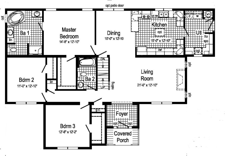 The main section of the home is 28' wide. But the third Bedroom, Foyer, and Covered Porch add another 13' to the width in the middle of the plan. A manufacturer might list the width of this plan as 41', but keep in mind that it is only 41' in the middle.