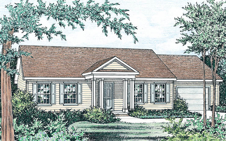 Hampshire 1 story modular home floor plan for Traditional house plans two story