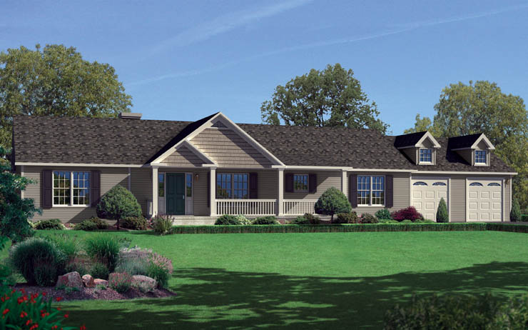 Norwood 1 story modular home floor plan for Single story brick house plans