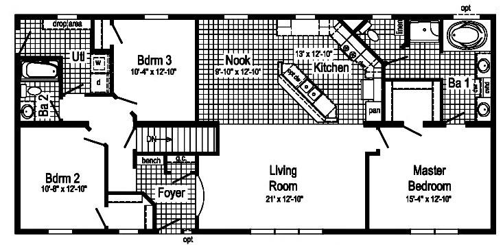 Heathcliff 1 story modular home floor plan for One story modular homes