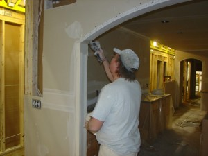 Installing Drywall Mud on the Pennwest/Manorwood Homes Assembly Line