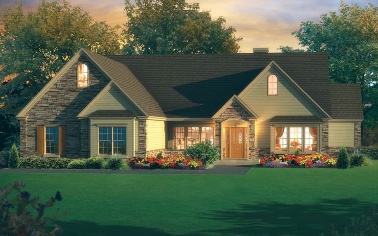This one-story home shows an exterior elevation with several optional features: cultured stone siding, a 12/12 roof with 2 reverse gables and gable returns, a garage with two bumpouts and a reverse gable, two circle top windows, an ornate front door, decorative moldings, and a rear chimney.
