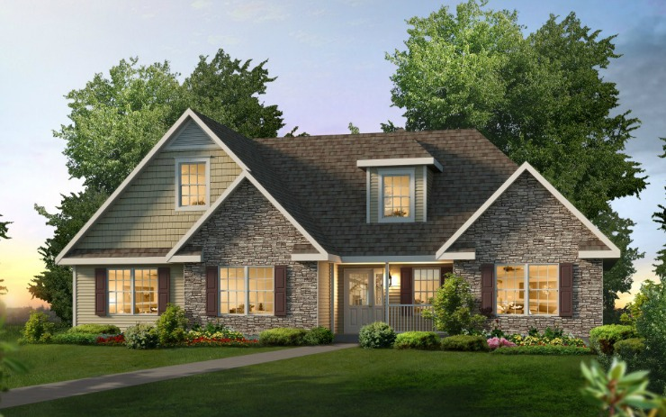 The marketing literature for this T-Ranch plan shows the following options: a 12/12 cape roof, one A-Dormer with a hip roof, a reverse gable, gable returns, vinyl clapboard and scalloped siding, cultured stone siding, a front porch, an upgrade front door, and window moldings around the attic window.