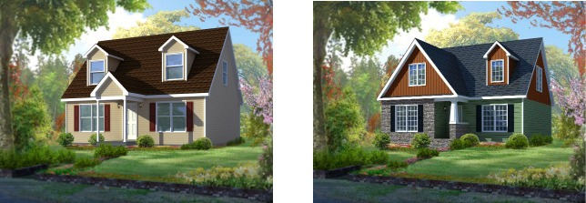 Compare the standard modular home elevation of the Barclay cape cod plan on the left with the dressed up version of the same plan on the right.