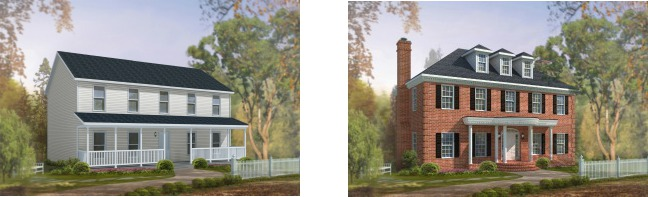 Compare the standard modular home elevation of the Bellmeade two-story plan on the left with the dressed up version of the same plan on the right.