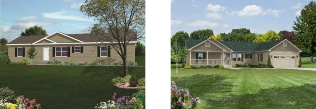 Compare the standard modular home elevation of the Crookston one-story plan on the left with the dressed up version of the same plan on the right.