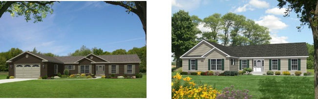 Compare the standard modular home elevation of the Glamorgan one-story plan on the left with the dressed up version of the same plan on the right.
