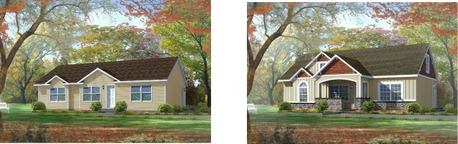 Compare the standard modular home elevation of the Gordon one-story plan on the left with the dressed up version of the same plan on the right.