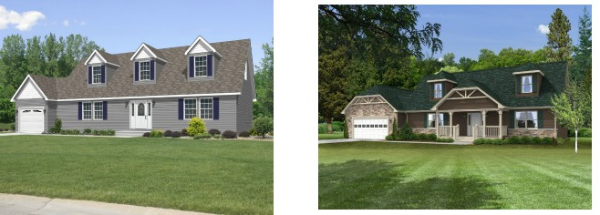 Compare the standard modular home elevation of the Tiffany cape cod plan on the left with the dressed up version of the same plan on the right.