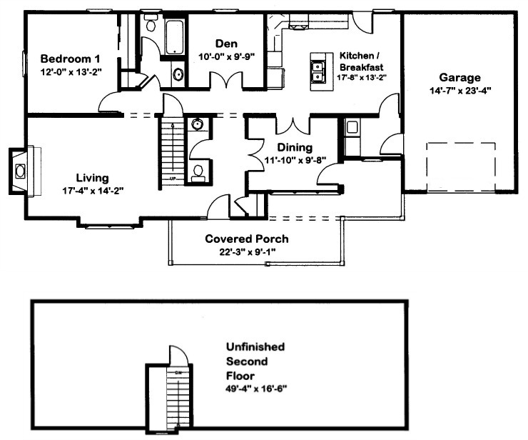 Cape cod 1 modular home floor plan for Cape cod house plans open floor plan