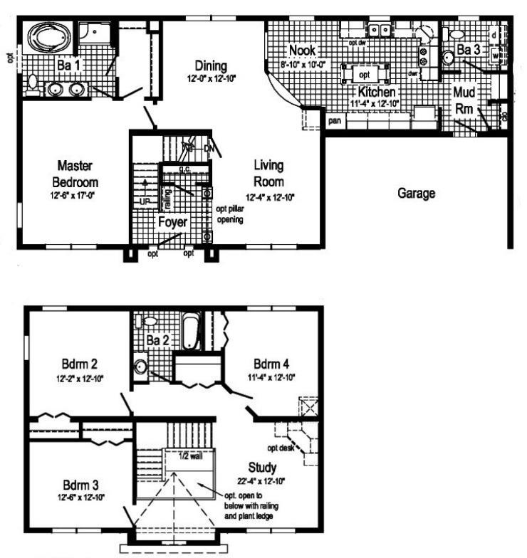 Carlisle 2 Story Modular Home Floor Plan