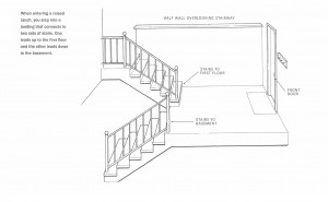 The split entry at the front entrance of a modular raised ranch places the door between the main floor and basement .