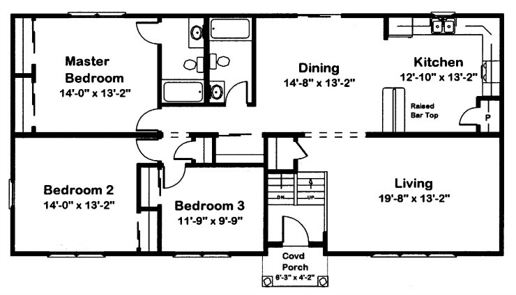 A typical raised ranch floor plan with a split level entry at the front door.