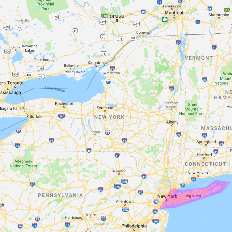 Map of The Home Store's Long Island Service Area